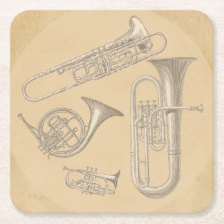 Brass Instruments Vintage Drawings Square Paper Coaster