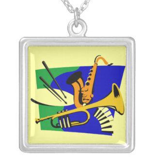 Brass - jazz square pendant necklace