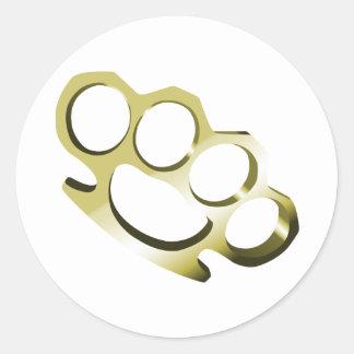 Brass Knuckles Classic Round Sticker