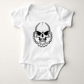 Brass knuckles skull baby bodysuit