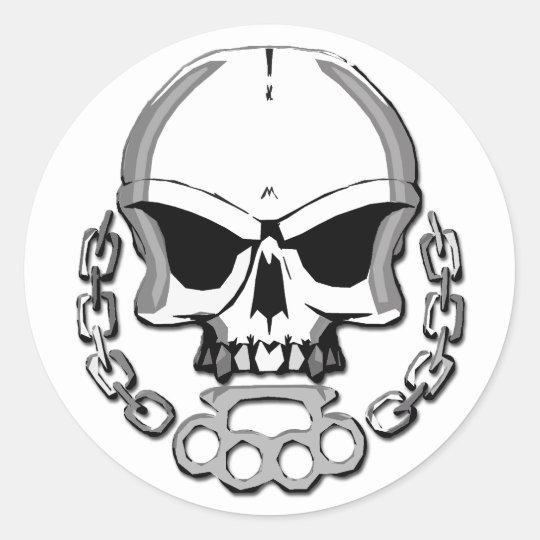 Brass knuckles skull classic round sticker