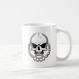 Brass knuckles skull coffee mug