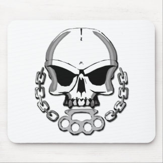 Brass knuckles skull mouse pad