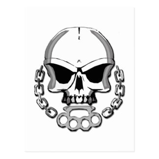 Brass knuckles skull postcard