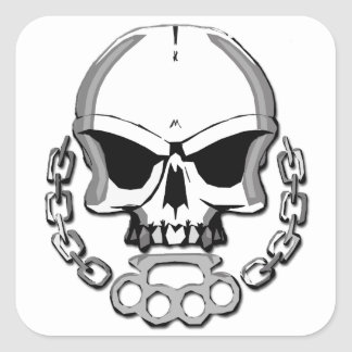 Brass knuckles skull square sticker