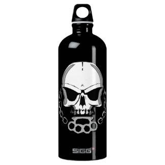 Brass knuckles skull water bottle