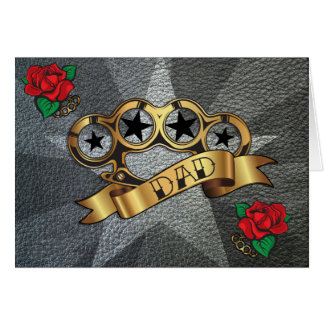 Brass Knuckles Tattoo DAD Greeting Card