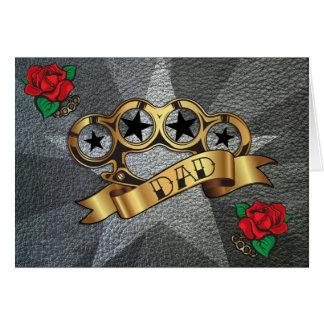 Brass Knuckles Tattoo DAD Greeting Card