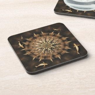 Brass Koi Metal Mandala Square Cork Coaster