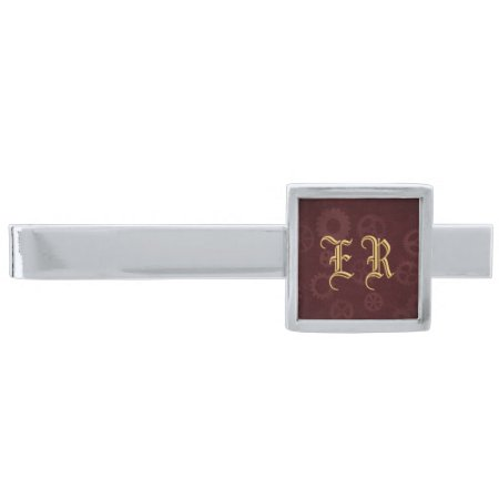 Brass Monogram on maroon steampunk cogs Silver Finish Tie Clip