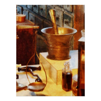 Brass Mortar and Pestle Poster