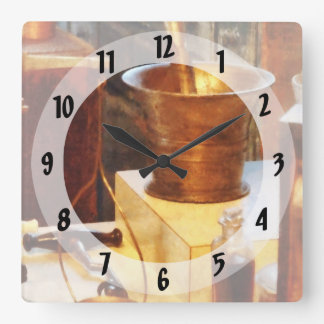 Brass Mortar And Pestle Square Wall Clocks