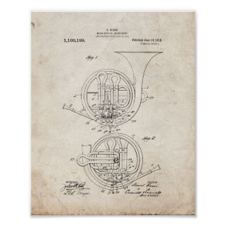 Brass Musical Instrument Patent - Old Look Poster
