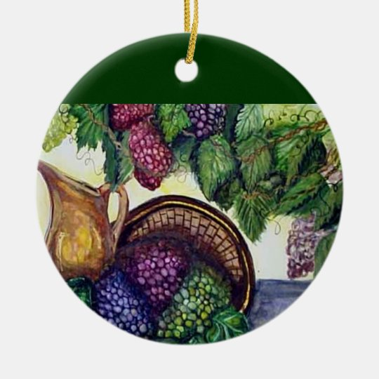 Brass Pitcher & Grapes watercolor art Ceramic Ornament