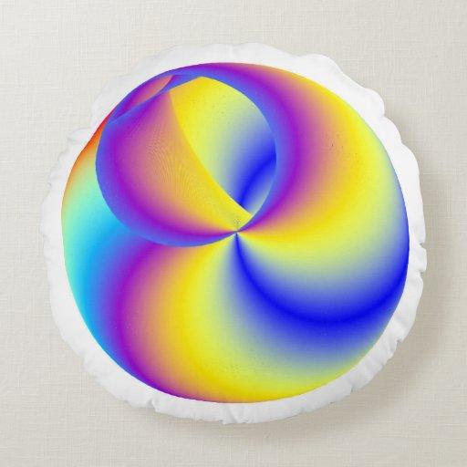 Brass Rainbow Round Throw Pillow