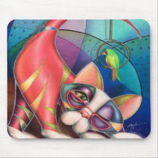 Brass Ring Kitty Mouse pad  by Alma Lee