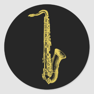 Brass Sax Classic Round Sticker