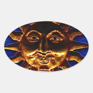 Brass Sun Plaque Oval Sticker