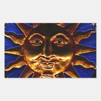 Brass Sun Plaque Rectangular Sticker