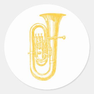 """Brass"" Tuba Classic Round Sticker"