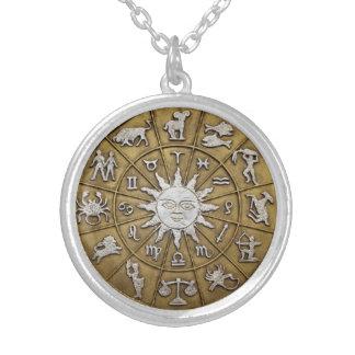 Brass Zodiac Wheel Round Pendant Necklace