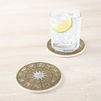 Brass Zodiac Wheel Sandstone Coaster