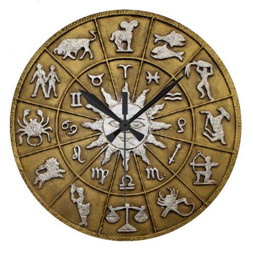 Brass Zodiac Wheel Wall Clock | Zazzle
