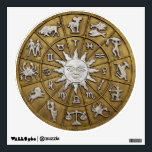 """Brass Zodiac Wheel Wall Sticker<br><div class=""""desc"""">Round wall decal with an image of a brass and silver zodiac wheel. See the entire Gemstones &amp; Medallions Wall Decal collection in the ART &amp; POSTERS section.</div>"""