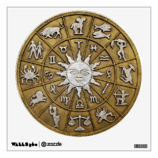 Brass Zodiac Wheel Wall Sticker