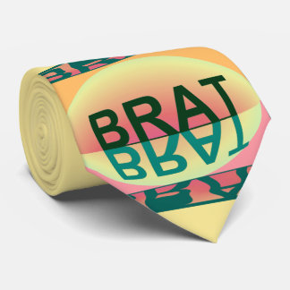 BRAT Humor Tie for Men-Creme/Green/Teal/Peach