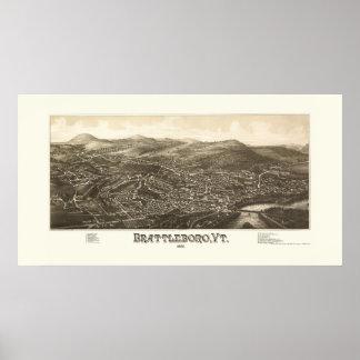 Brattleboro, VT Panoramic Map - 1886 Posters
