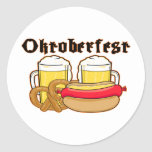 Bratwurst y cerveza de Oktoberfest Pegatina Redonda