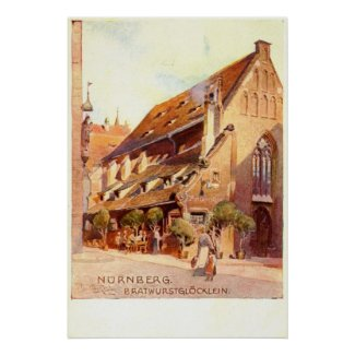 Bratwurstglöcklein, Nürnberg Germany 1910 Vintage print