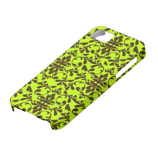 brauner Vogel und Limones grünes Damastmuster iPhone SE/5/5s Case