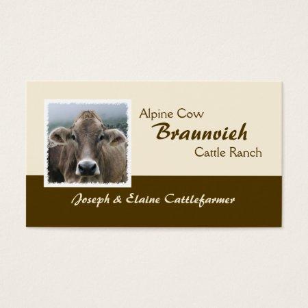 Braunvieh Beef Alpine Cow Cattle Ranch Business Cards