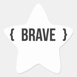 Brave - acorchetado - blanco y negro pegatina en forma de estrella