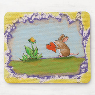 Brave al pequeño individuo - flor romántica del tapetes de raton