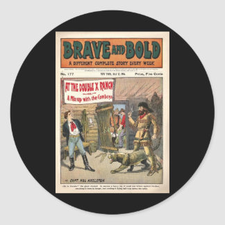 Brave and Bold Serial Western Comic Book- 1906 Round Sticker