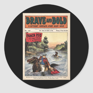 Brave and Bold Serial Western Comic  Ranch Bob '06 Round Stickers