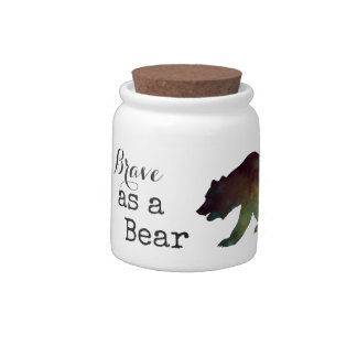 Brave as a Bear Watercolor Typography Candy Jars