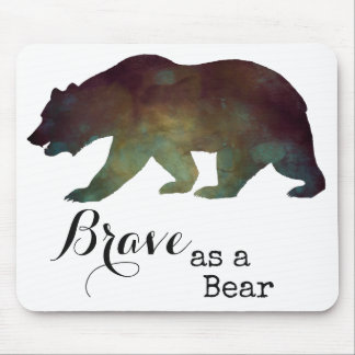 Brave as a Bear Watercolor Typography Mouse Pad
