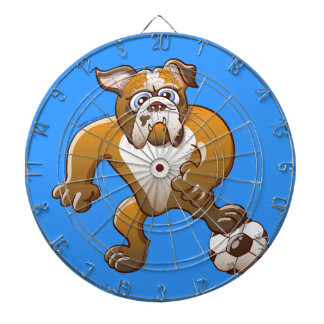Brave Bulldog Preparing to Kick a Soccer Ball Dartboards