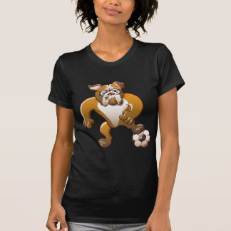 Brave Bulldog Preparing to Kick a Soccer Ball T-Shirt