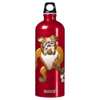 Brave Bulldog Preparing to Kick a Soccer Ball Water Bottle