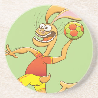 Brave hare ready to shoot while playing handball drink coaster
