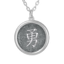 Brave Kanji Grey Silver Plated Necklace