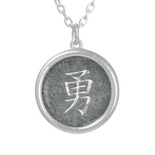 Brave Kanji Grey Silver Plated Necklace