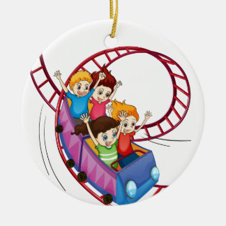 Brave kids riding in a roller coaster ride ceramic ornament
