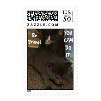 BRAVE KITTY WALKS stamp