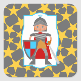 Brave Knight Boy Birthday Party Square Sticker